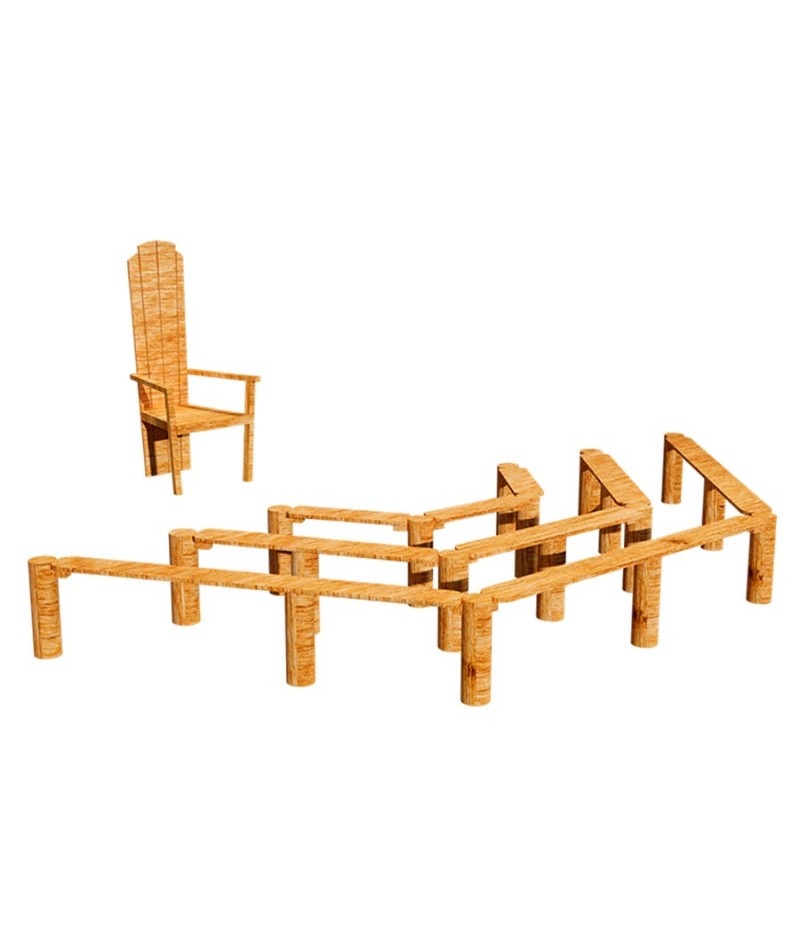 Bancos y silla de robinia para exterior