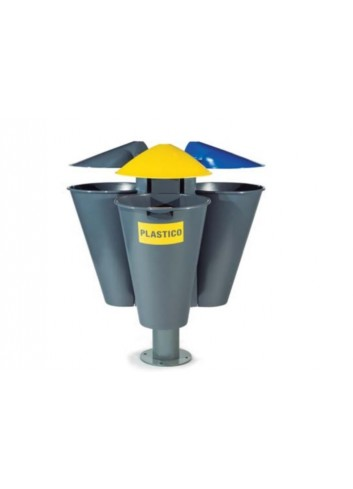 Isla reciclaje con 3 papeleras Pragma + poste